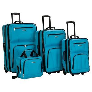 Rockland Journey 4pc Luggage Set - Turquoise