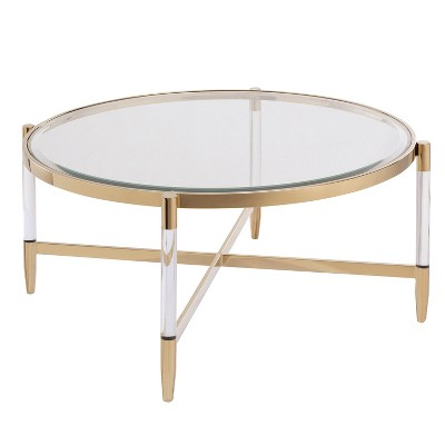 Colter Acrylic Cocktail Table Gold - Aiden Lane