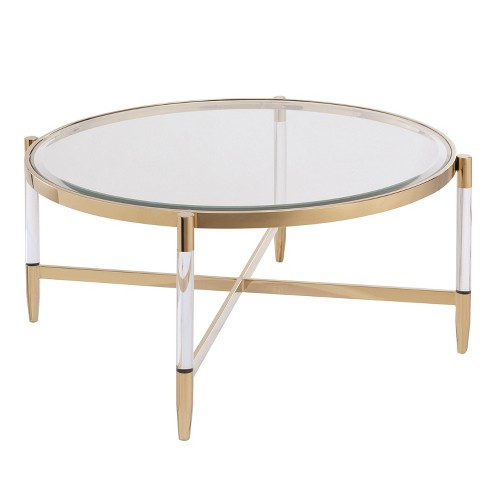 Colter Acrylic Cocktail Table Gold - Aiden Lane - image 1 of 4