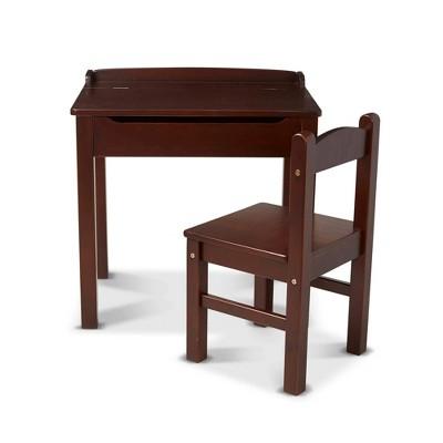 Melissa & Doug Wooden Child's Lift-Top Desk and Chair - Espresso