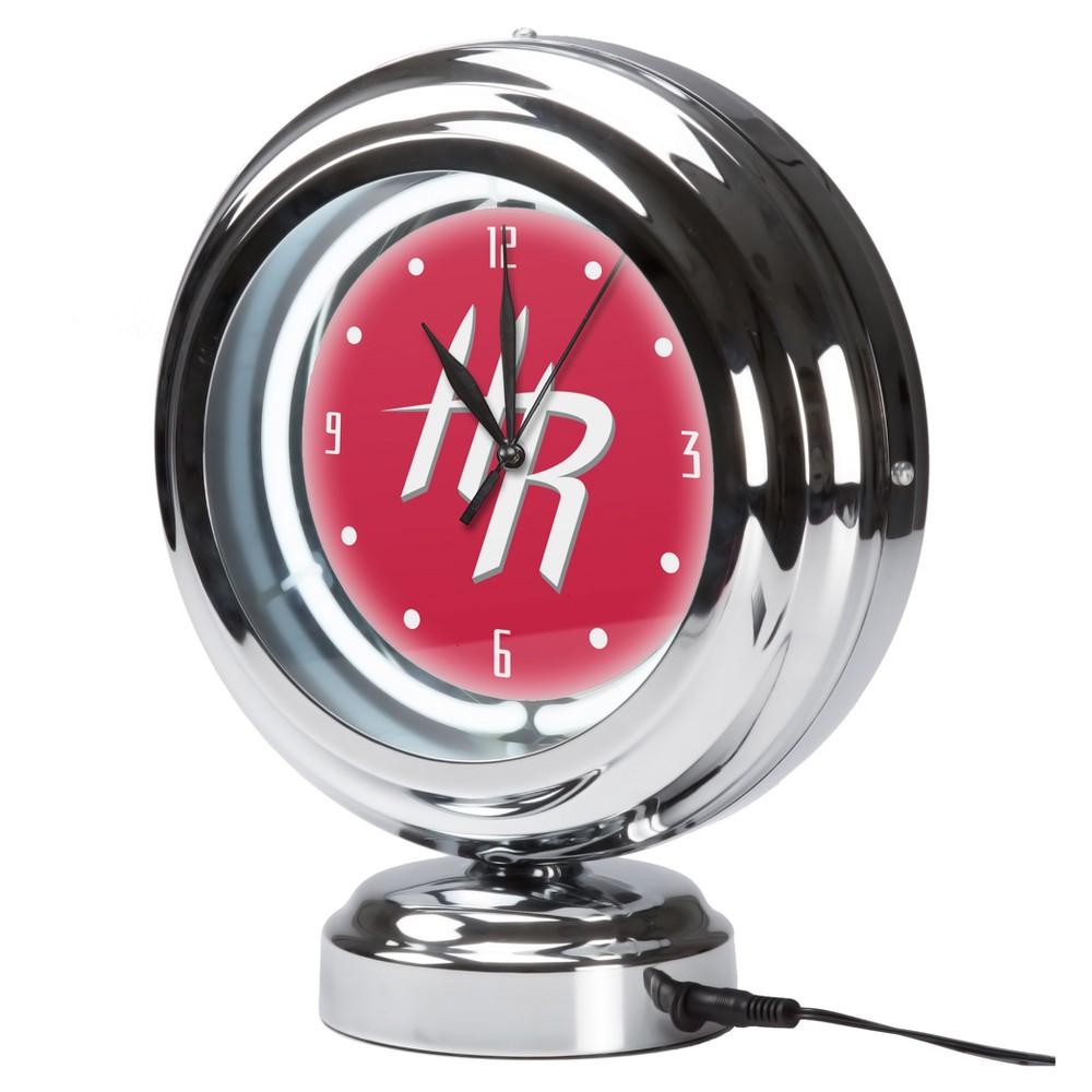 NBA Houston Rockets Chrome Retro Style Tabletop Neon Clock