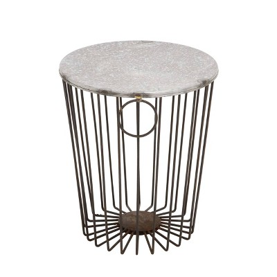 Metal Wire Stool Patio Accent Table - Olivia & May
