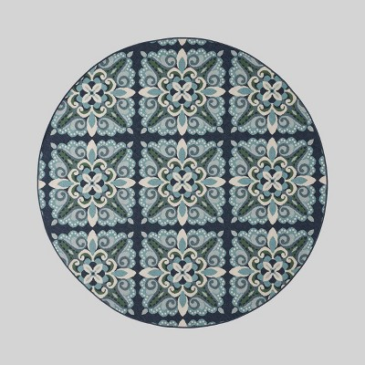 7'10  Round Kaia Medallion Outdoor Rug Blue/Green - Christopher Knight Home