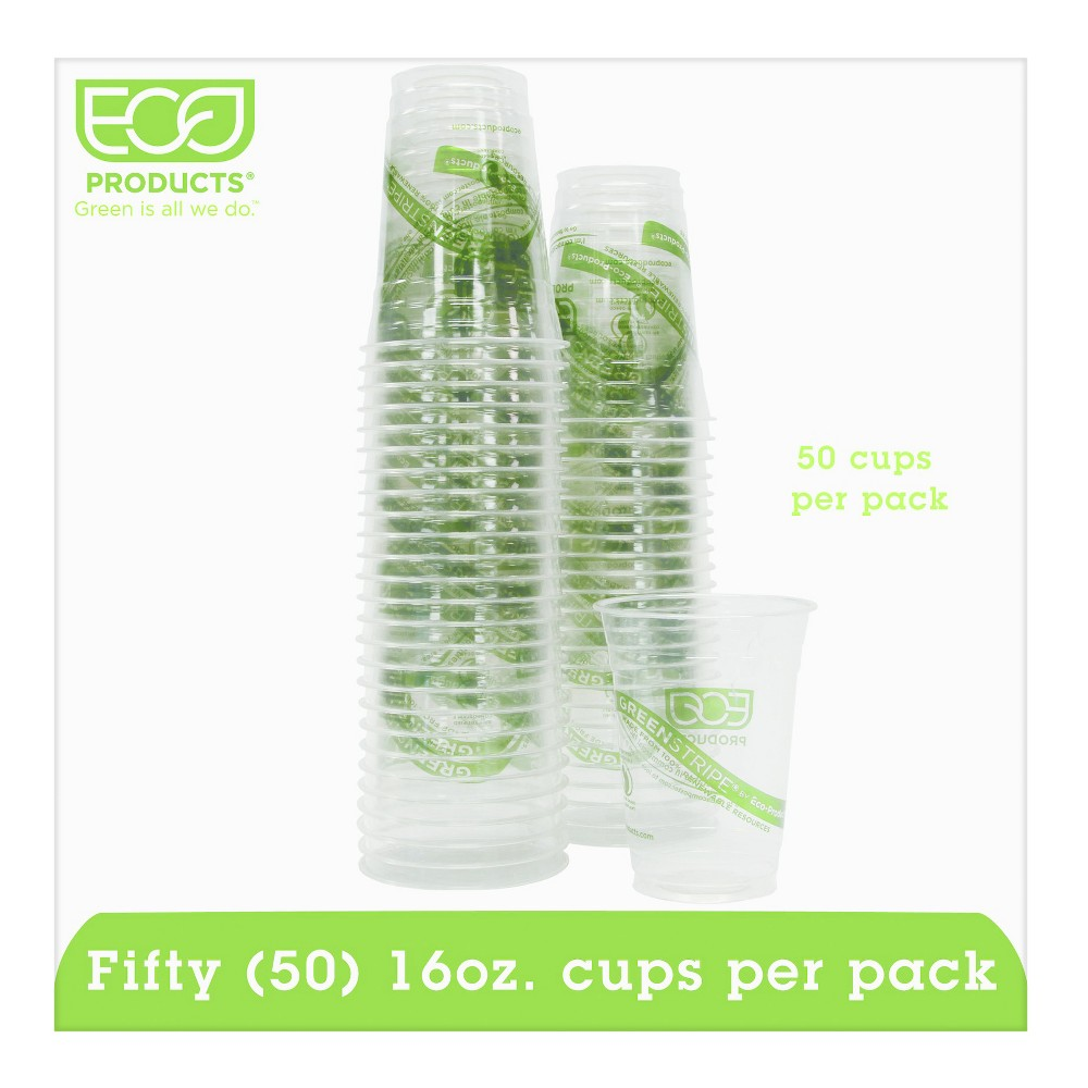 Eco-Products Green Stripe Renewable/Compostable Cold Cups Convenience Pack 16oz - 50ct, Clear