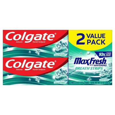 Colgate Max Fresh Toothpaste with Mini Breath Strips - Clean Mint - 6oz/2pk