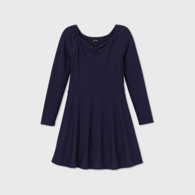 Girls' Rib-Knit Long Sleeve Dress - art class™
