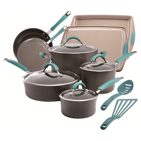Rachael Ray 14 Piece Cucina Hard Anodized Cookware Set Agave Blue - image 1 of 8