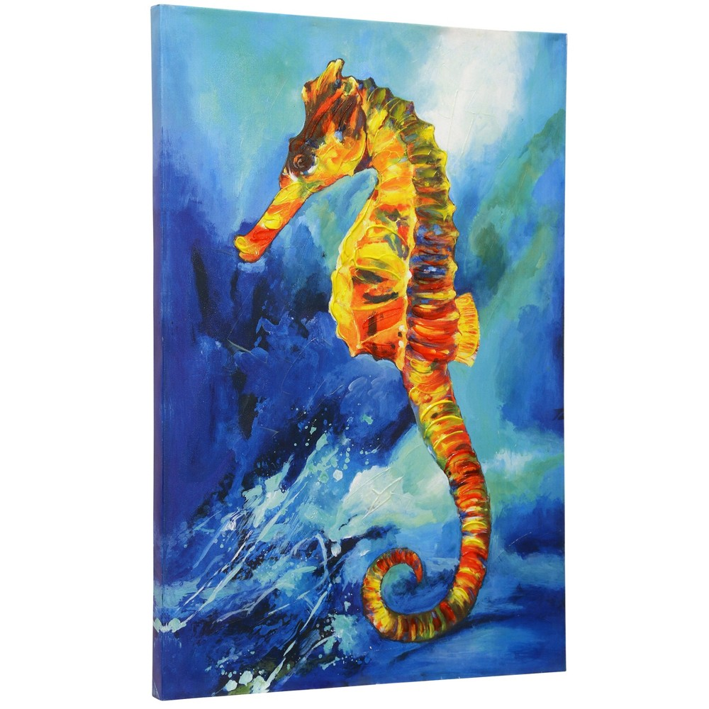 24 Textured Sea Horse Hand Embellished Print Stretched Canvas Decorative Wall Art - StyleCraft, Multi-Colored