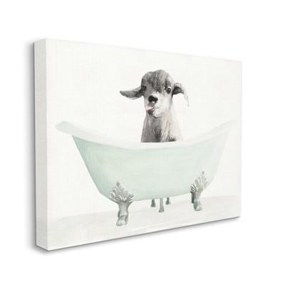 Stupell Industries Baby Llama In A Tub Funny Animal Bathroom Drawing