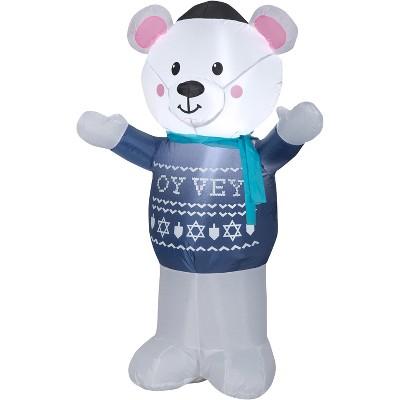 Gemmy Christmas Airblown Inflatable Hanukkah Polar Bear, 4 ft Tall, Multicolored