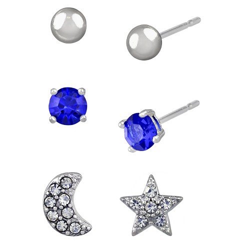 712dc1dd0 Women's Studs Earrings Sterling Silver Three Pairs Ball Stud & Moon/Star  -Silver/Blue : Target