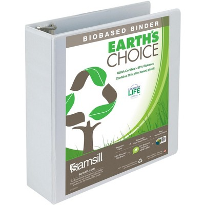 Samsill Earth's Choice Eco-Friendly View Binder, 3 Inch D-Rings, White