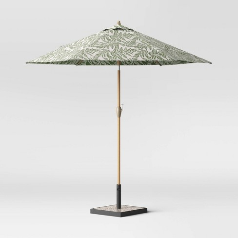 9' Round Patio Umbrella Fern - Light Wood Pole - Threshold™ - image 1 of 3