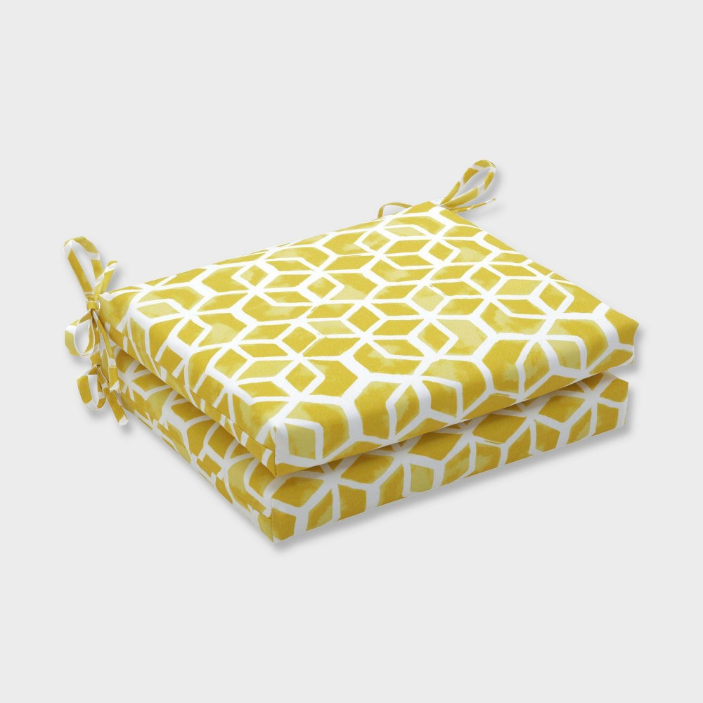 2pk Celtic Pineapple Squared Corners Outdoor Seat Cushions Yellow - Pillow Perfect