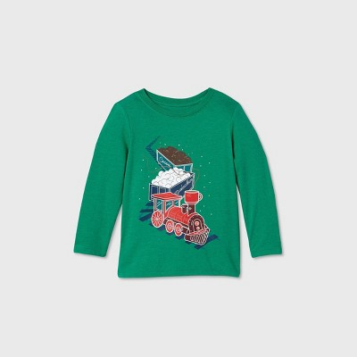 Toddler Boys' Hot Cocoa Train Graphic Long Sleeve T-Shirt - Cat & Jack™ Green