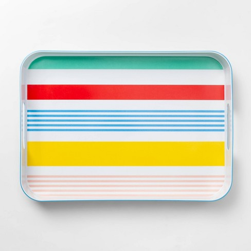 """13.1""""x18.8"""" Plastic Variegated Stripe Rectangle Serving Tray - Sun Squad™ - image 1 of 2"""