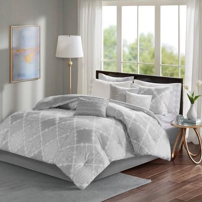 Gray Sidnee Cotton Sateen Comforter Set (Queen)9pc