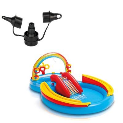 Intex 120V Quick Fill AC Electric Air Pump & Intex Rainbow Ring Kiddie Pool