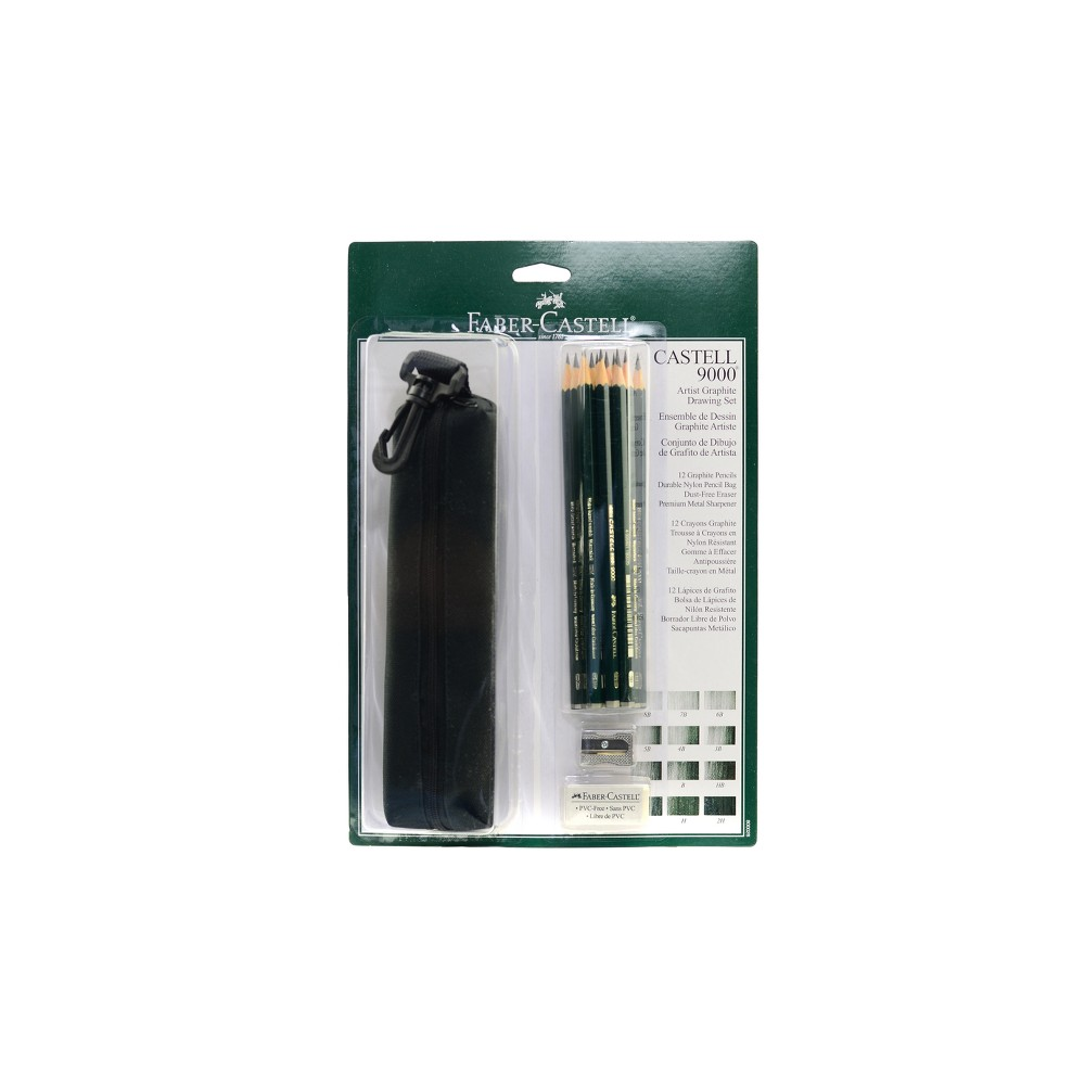 Image of Artist Graphite Drawing Set with Bag 12ct - Faber-Castell 9000, Gray
