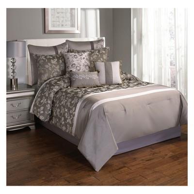 9pc King Heston Comforter Set Silver - Riverbrook Home
