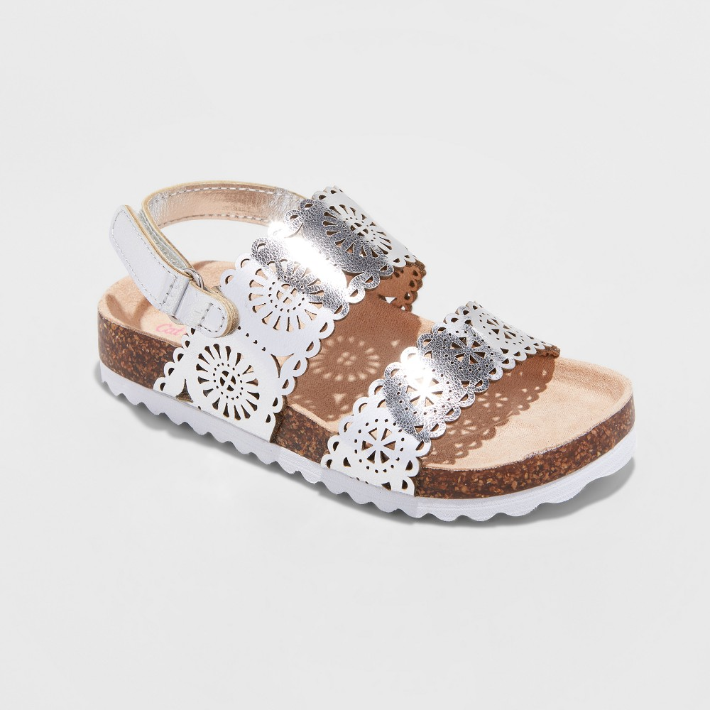 Toddler Girls' Gwenivive Footbed Sandals - Cat & Jack Silver 7