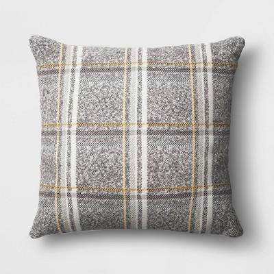 Oversized Square Plaid Throw Pillow Gray - Threshold™