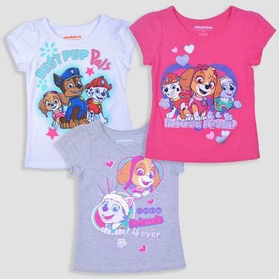 Toddler Girls' 3pk PAW Patrol Short Sleeve T-Shirt - Pink/Gray/White 2T