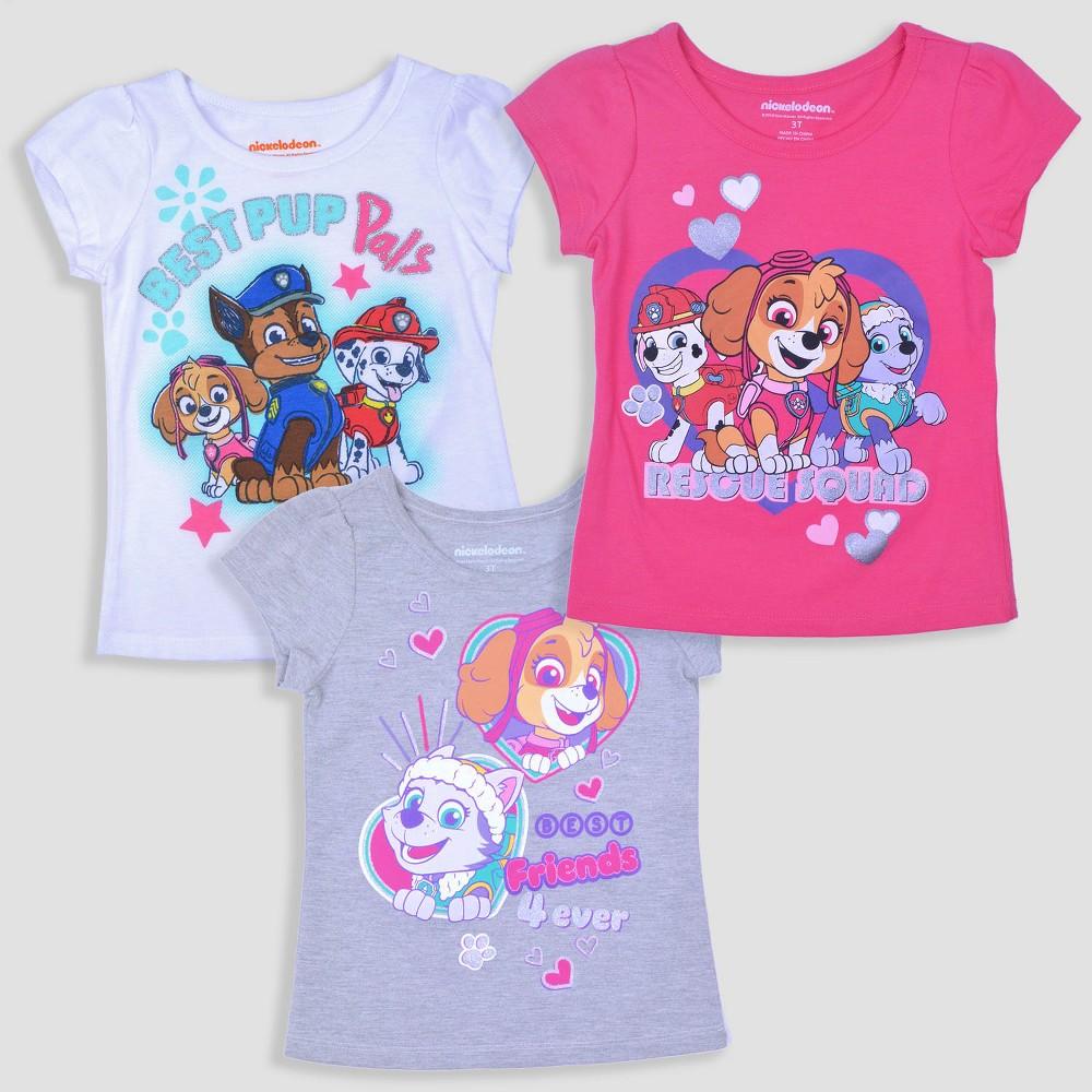 Toddler Girls' 3pk Paw Patrol Short Sleeve T-Shirt - Pink/Gray/White 2T, Multicolored