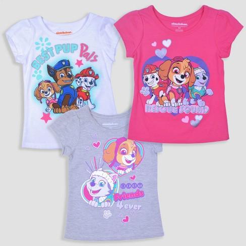 Toddler Girls' 3pk PAW Patrol Short Sleeve T-Shirt - Pink/Gray/White - image 1 of 4