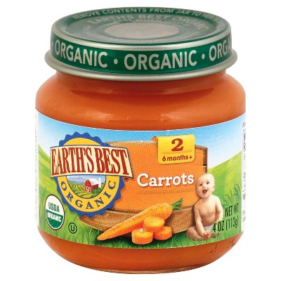 Earth's Best Organic Pureed Baby Food Carrots - 4oz