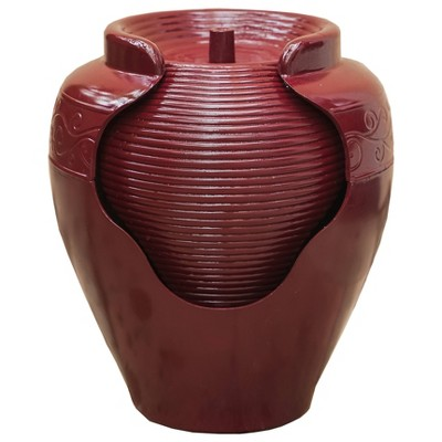 """17"""" Indoor/Outdoor Round Vase Waterfall Fountain with Ridges Red - XBrand"""