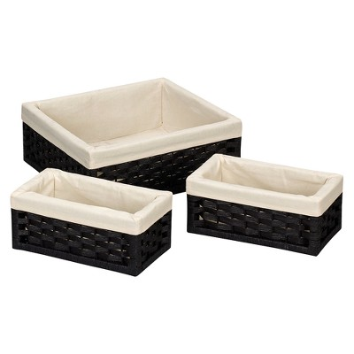 Household Essentials Paper Rope Cube Storage Basket Set of 3 - Black