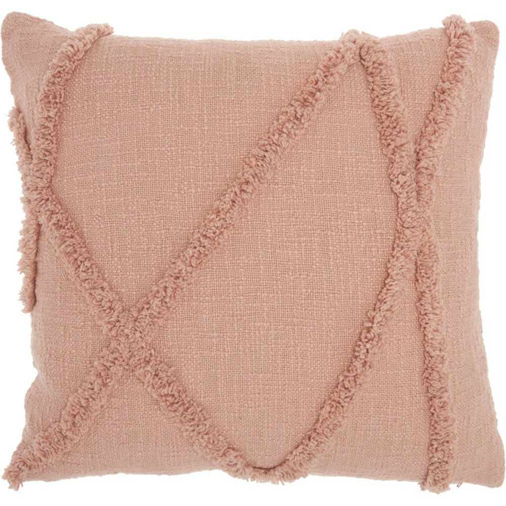 Image of Life Styles Distressed Diamond Throw Pillow Blush - Nourison, Pink