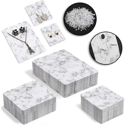 Set of 210 Earring & Necklace Display Cards in 3 Sizes, 600 Earring Secure Backing Included, Marble Print (Total 810 Pcs)