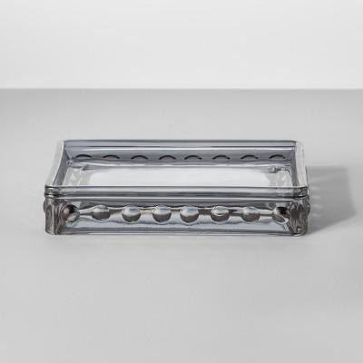 Hobnail Glass Soap Dish Gray Tint - Opalhouse™