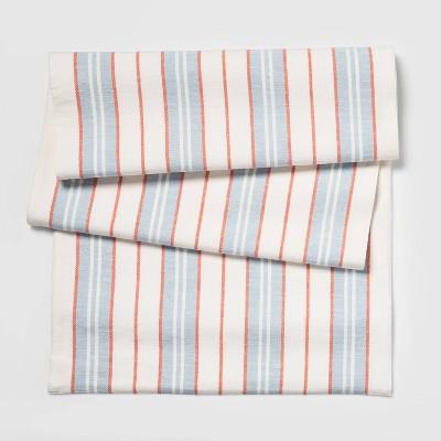 """20""""x90"""" Stripe Table Runner Blue - Threshold™"""