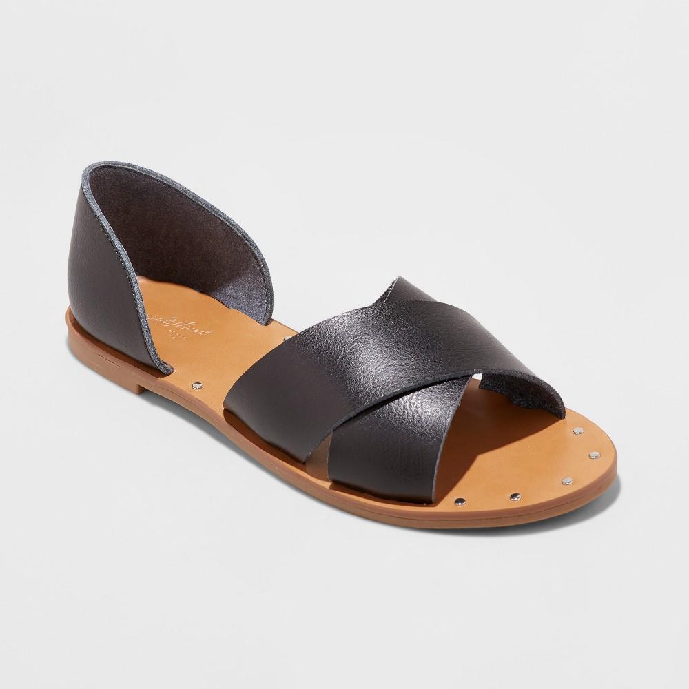 Women's Lois Open Toe Slide Sandals - Universal Thread Black 6.5