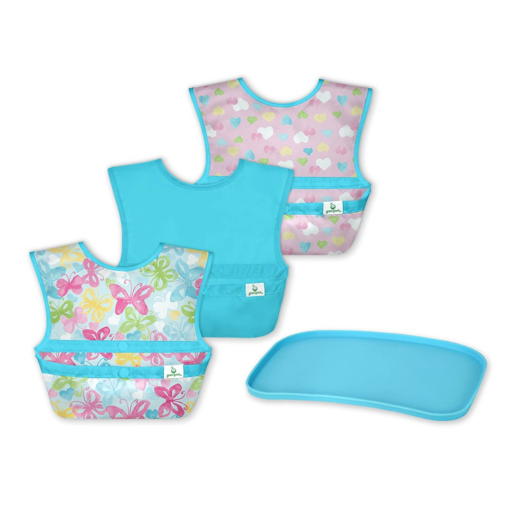 Image of Green Sprouts Baby Mealtime Set Easywear Bib Mini Platemat Aqua/Pink - 4pc