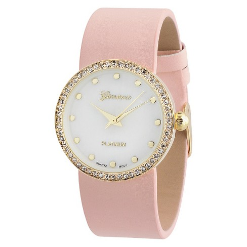Women's Geneva Platinum Rhinestone Accented Round Face Simulated Leather Strap Watch - Pink - image 1 of 3