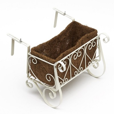 Lakeside Antique White Scrolled Metal Deck and Railing Planter for Outdoors