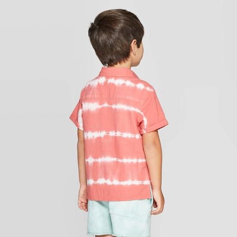 5b2549037 Toddler Boys' Tie Dye Button-Down T-Shirt - Art Class™ Red : Target