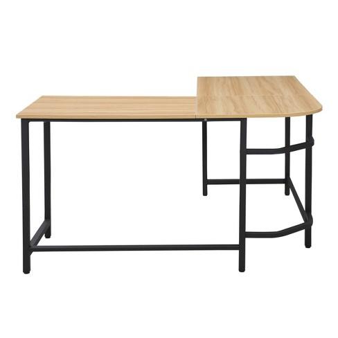 Daniel Compact L Shaped Office Desk Natural/Black - Poly & Bark - image 1 of 4
