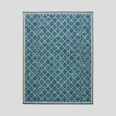 Coolidge Trellis Outdoor Rug Blue/Ivory - Christopher Knight Home