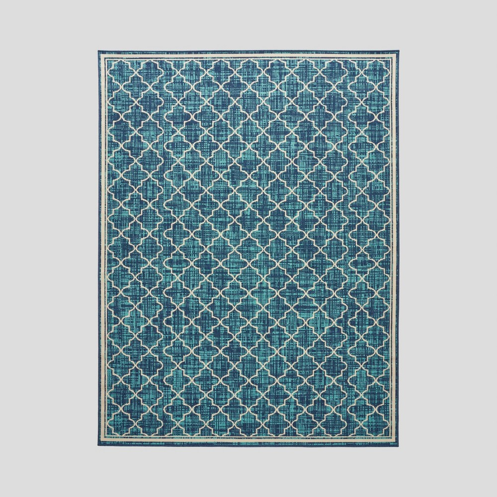 7'10 x 10' Coolidge Trellis Outdoor Rug Blue/Ivory - Christopher Knight Home