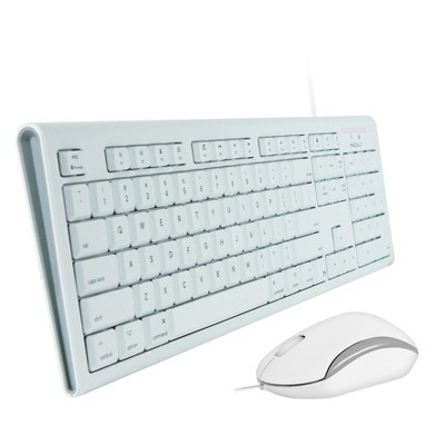 Macally 104 Key USB Wired Keyboard + Rubber Domed Keycaps + Mouse Combo