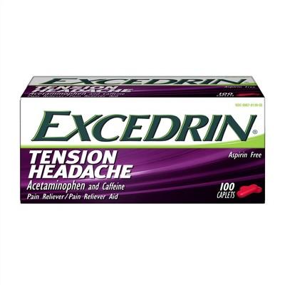 Excedrin Tension Head Ache Pain Reliever Caplets - Acetaminophen - 100ct