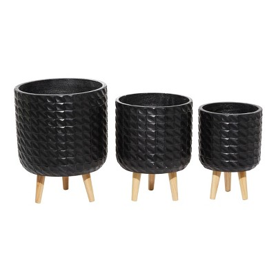 Set of 3 Wood Grid Patterned Planters - CosmoLiving by Cosmopolitan