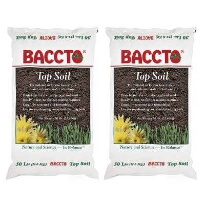 Michigan Peat 1550P Baccto Top Soil for Lawns, Gardens, and Raised Planting Beds with Reed Sedge, Peat, and Sand, 50 Pounds (2 Pack)