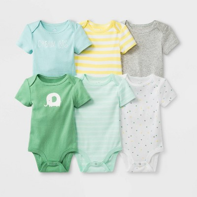 Baby Boys' 6pk Short Sleeve Bodysuit - Cloud Island™ Newborn
