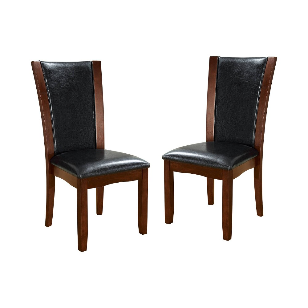 Set of 2 Canbride Black Leatherette Side Chair Dark Cherry/Brown - ioHOMES, Redwood Brown
